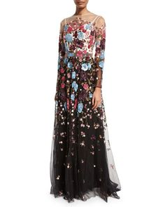 Floral-Beaded Long-Sleeve Illusion Gown, Cream/Black