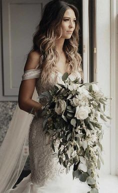 39 prettiest wedding bouquets greenery wedding bouquet, wedding bouquets Wedding flowers are an excellent way to show your style and put some distinctive touches on your wedding ceremony and reception décor. Cascading Wedding Bouquets, Wedding Flower Arrangements, Bride Bouquets, Bridal Flowers, Bridesmaid Bouquet, Floral Wedding, Wedding Colors, Wedding Greenery, Greenery Bouquets