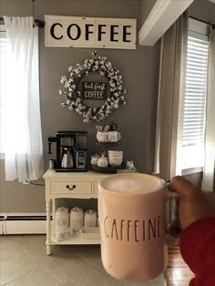 Coffee nook in a house coffee bar farmhouse decor would love to have one set up in the dining room book nook coffee house Coffee Nook, Coffee Bar Home, Coffe Bar, Coffee Area, Coffee Themed Kitchen, Coffee Kitchen Decor, Coffee Bar Ideas, Coffee Tables, Coffee Bar Design
