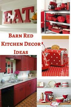 Barn Red Kitchen Decor Ideas add that little bit of color to any country style kitchen Kitchen ideas Barn Red Kitchen Decor Ideas - Hip Hoo-Rae Black And Red Kitchen, Black Kitchen Decor, Kitchen Decor Items, Teal Kitchen, Black Kitchens, Cool Kitchens, Decorating Kitchen, Kitchen Ideas Red, Kitchen Country
