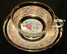 PARAGON MAUVE PINK BOUQUET GOLD BLACK BORDER TEA CUP AND SAUCER