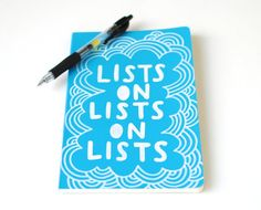 Hand Painted Notebook, Blue Moleskine Journal, Lists on Lists on Lists, Lined Pages, Doodle Illustration. By EmDashPaperCo, via Etsy