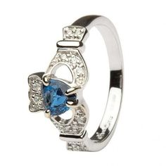 Claddagh with Sapphire and Diamonds
