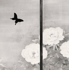 Michael Kenna - Butterfly and Peonies, Kongobuji, Koyasan, Japan, 2006 Photography Pricing, Fine Art Photography, Contemporary Photographers, Photo Black, Photomontage, Art And Architecture, Black And White Photography, Peonies, Monochrome