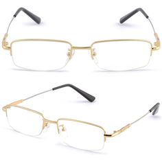 Half Rimless Light Men's Women's Frame Memory Titanium Prescription Glasses Gold | Health & Beauty, Vision Care, Eyeglass Frames | eBay!
