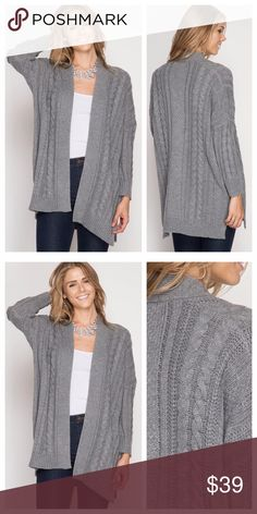 Gray Long Sleeve Cabled Cardigan Gray cardigan has a cable pattern, long sleeves, and side slits. Thick and warm cotton blend. EVIEcarche Sweaters Cardigans