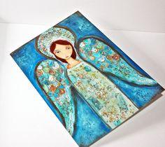 New! Angel Azul  Greeting Card 5 x 7 inches  Folk Art By by FlorLarios, $5.00