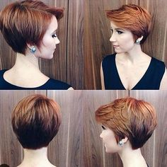 Layered long red pixie haircut for women Over 30,40,50