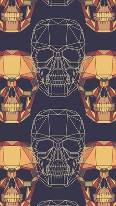 Digital Skulls Wallpaper, pop art, graphic design, illustration.