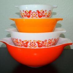 Vintage Pyrex JaJ Snowflake Gaiety Space Savers Pink, Red, Coral ...