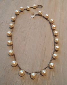 "Collar de perlas crochet ""Boho RockStar"" crema cristal collar de perlas, Shabby chic, clásico glamour bohemio, moderno lujo bohemio elegancia"