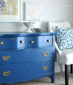 blue painted dresser with gold pulls - dresser redo Blue Painted Furniture, Funky Furniture, Furniture Projects, Furniture Makeover, White Furniture, Furniture Design, Painted Dressers, Painting Furniture, Furniture Hardware
