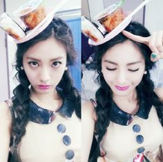"NANA's ""triangle kimbap and kimchi"" hat concept Orange Caramel  #kpop"