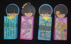 As soon as I saw the Dandelion Design Kokeshi Doll head stamps, I knew I had to get the set. I bought mine from Ben Franklin Crafts and . Boys Day, Girl Day, Boy Or Girl, Doll Crafts, Paper Crafts, 3d Paper, Harmony Day, Asian Crafts, Post It Note Holders