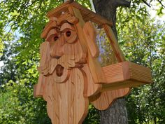 Large Ent Cedar Bird Feeder with Plexiglass and Rope, King Bird Feeder, Old Man Bird Feeder, Face Bi Outdoor Art, Outdoor Gardens, Outdoor Decor, Wood Projects, Woodworking Projects, Old Man Face, Best Bird Feeders, Plexiglass, Cabins