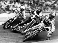Ivan Mauger leading Ole Olsen and Doug Wyer at the 1976 Inter Continental Final at Wembley