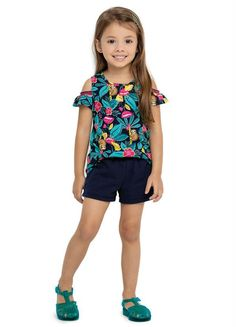 Short Infantil, Products, Style, Fashion, Floral Prints, Baby Clothes Girl, Navy Blue, Stripes, Sweater Hoodie