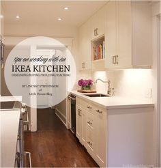 lovely white kitchen makeover with mix of high-low end materials