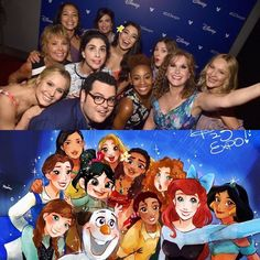 I love how Josh Gadd is randomly in this disney princess photo  I love him so much