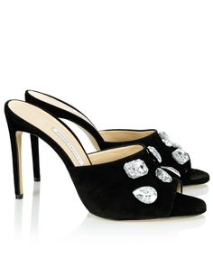 BIONDA CASTANA Black Suede Bianca Jewelled Mules. #biondacastana #shoes #mules
