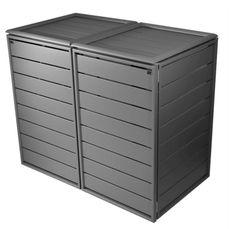Mülltonnenbox grau Aluminium - 2er 120L mit Klappdach-Classic