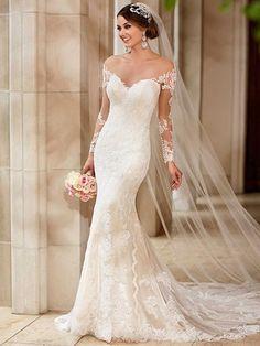 Trompette / sirène encolure dégagée Tulle dentelle avec boutons ivoire à manches longues robes de mariée au Royaume-Uni