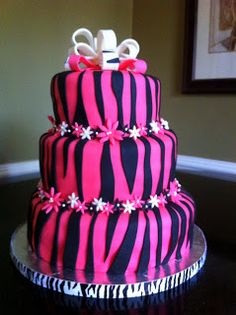 Fondant Zebra Cake with Flowers and Bow! Pretty Cakes, Cute Cakes, Beautiful Cakes, Amazing Cakes, Pink Zebra Cakes, Zebra Print Cakes, Birthday Cakes For Women, Birthday Cake Girls, 22nd Birthday