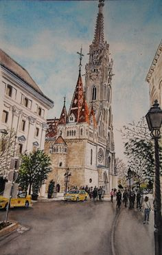Mathias Cross, Aquarelle 55 x Fabriano 300 gr, Original price: 800 Euro, exclusive high end imprint on aquarelle paper - 100 Euro Barcelona Cathedral, Euro, The Originals, Live, Paper