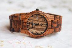 Reservation Wooden Watch Women or Men Zebra Wood Date Thin Watch Wrist Bracelet Quartz Vintage Watch Calendar Round Dial Gift Waterproof