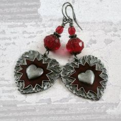Red Heart Earrings Valentine Heart Jewelry by pink80sgirl on Etsy, $24.00