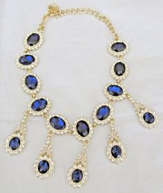 Kenneth Jay Lane Sapphire Blue Drop Crystal 22k Gold Plated Choker Necklace $415 #KennethJayLane #Choker