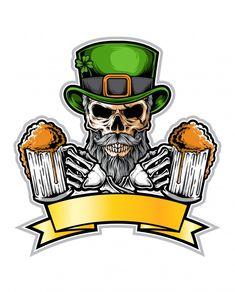 Festival Logo, Beer Festival, Irish Tattoos, Irish Celtic, Vector Photo, Beer Label, Skull Art, Fantasy Creatures, Logo Design