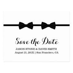 Same Sex Save the Date Wedding Invitations Gay Wedding Bow Ties Minimalist Save the Date Postcard