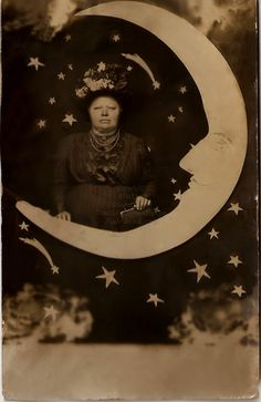 Lady and a Paper Moon Digital Photogaph by MsAlisEmporium on Etsy, $2.50