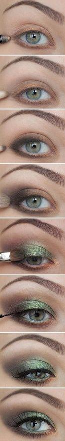 green  gold eye make up