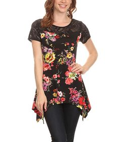 Another great find on #zulily! Black & Floral Sidetail Top #zulilyfinds