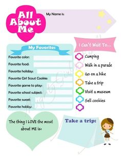 All about me brownie and daisy printable sheets! Girl Scouts troop leader must… Scout Mom, Girl Scout Swap, Girl Scout Leader, Daisy Girl Scouts, Girl Scout Troop, Girl Scout Daisies, Girl Scout Daisy Activities, Girl Scout Crafts, Brownie Girl Scouts