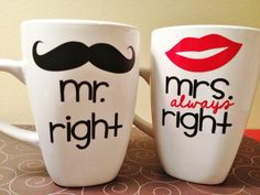Mr.+Right+and+Mrs.+Always+Right+Coffee+Mugs+por+delightdesignsvinyl,+$15,00
