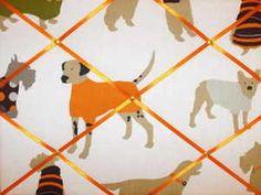 Medium Prestigious Man's Best Friend Dog Hand Crafted Fabric Notice / Pin / Memo Board