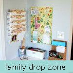 drop zone by hi sugarplum!, via Flickr  I love this great use of space! File categories: Crapola, Taxes, File, Bills, Kids - great system all in one spot. Also love the colorful fabric memo board! Need to do this in Kitchen ASAP  in Doggie Corner
