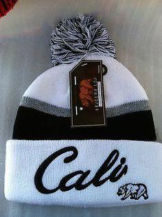 Stripe White Blck Big Letters Cali Republic Bear Cuffed Pom Beanie Skull Cap Hat | eBay