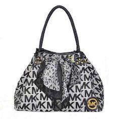 Michael Kors Scarf Jacquard Large Grey Shoulder Bags Outlet - $74.99