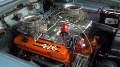 426 Max Wedge Mopar with a cross ram intake Old Muscle Cars, Dodge Muscle Cars, Motor Engine, Car Engine, Plymouth Cars, Performance Engines, Race Engines, Import Cars, Us Cars