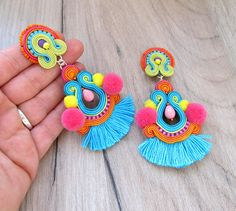 colorful boho tassel earrings, clip on earrings, tribal jewelry, statement soutache earrings Soutache Earrings, Tribal Earrings, Rose Gold Earrings, Unique Earrings, Tribal Jewelry, Tassel Earrings, Clip On Earrings, Earrings Handmade, Crochet Earrings