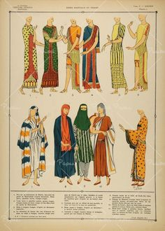 """1922 Pochoir Assyrian Women Costume Dress Tunic Veil """" This an original 1922 pochoir print of a variety of traditional  Assyrian women's dresses or tunics—including one with a veil to cover  the eyes (fig. 9). Period Paper has obtained a beautiful  collection of  original pochoir prints of historical costumes from  around the world. This rare collection was printed by zincography, a  printing process of engraving or etching on zinc plates, and colored in  pochoir, a process ..."""