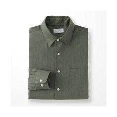 da38fbef213 Khaki Green Premium Linen Long Sleeve Shirt - UNIQLO Ledig Herr, Vita  Skjortor, Kostymer