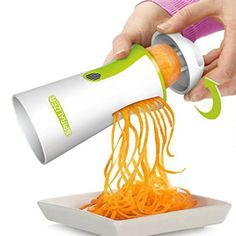 Premium 4 in 1 Vegetable Spiralizer - Spiral Slicer Bundle + FREE Ceramic Peeler + FREE Ceramic Knife + FREE Cleaning Brush. Includes 2 Cutter Sizes - Vegan Food Review