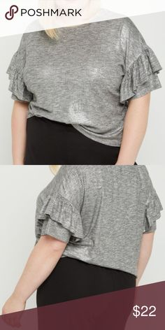 ➕🆕  H❤️P Ruffled Short Sleeve Tee  2X This cute tee is made of marled gray knit, boasting ruffled short sleeves.  rue+ Collection 58% rayon, 38% polyester, 4% spandex Rue21 Tops Tees - Short Sleeve