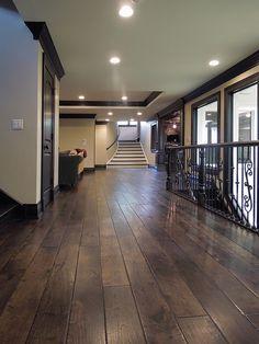 Dark hardwood floors with dark trim Walnut Floors, Dark Wood Floors, White Flooring, Oak Flooring, Flooring Ideas, Scraped Wood Floors, Hand Scraped Hardwood, Rustic Floors, Hallway Flooring