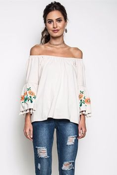 embroidered sleeves, off-shoulder top